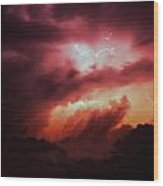 Dying Storm Cells With Fantastic Lightning Wood Print