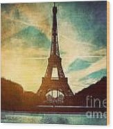 Eiffel Tower In Paris Fance In Retro Style Wood Print