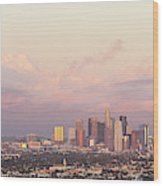 Elevated View Of City At Dusk, Downtown Wood Print