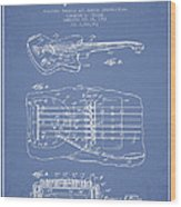 Fender Floating Tremolo Patent Drawing From 1961 - Light Blue Wood Print by Aged Pixel