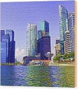 Financial District Of Singapore And View Of The Water In Singapore Wood Print