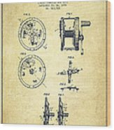 Fishing Reel Patent From 1896 Wood Print