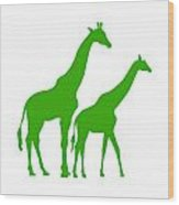 Giraffe In Green And White Wood Print