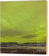 Green Glow Of Northern Lights Or Aurora Borealis Wood Print