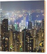 Hong Kong Harbor From Victoria Peak At Night Wood Print