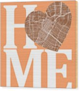 Houston Street Map Home Heart - Houston Texas Road Map In A Hear Wood Print