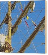 I Thought I Saw Three Sailing Ships Three Sailing Ships Early In The Morn N Wood Print by Michael Hoard