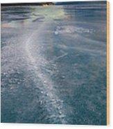 Ice Pattern On Frozen Abraham Lake Wood Print
