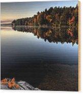 Lake In Autumn Sunrise Reflection Wood Print