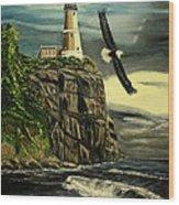 Lighthouse  Eagle Wood Print