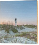Sullivan's Island Dunes To Lighthouse View Wood Print