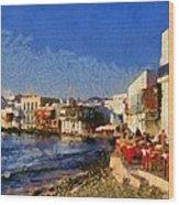 Little Venice In Mykonos Island Wood Print