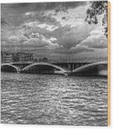 London Thames Bridges Bw Wood Print