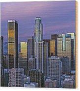Los Angeles Skyline Sunset Wood Print