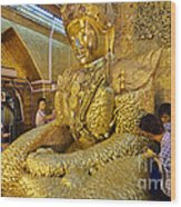 4 M Tall Sitting Buddha With Thick Layer Of Golden Leaves In Mahamuni Pagoda Mandalay Myanmar Wood Print