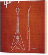 Mccarty Gibson Electric Guitar Patent Drawing From 1958 - Red Wood Print by Aged Pixel