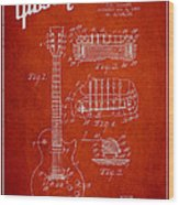 Mccarty Gibson Les Paul Guitar Patent Drawing From 1955 - Red Wood Print