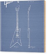 Mccarty Gibson Stringed Instrument Patent Drawing From 1958 - Light Blue Wood Print