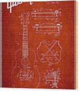 Mccarty Gibson Stringed Instrument Patent Drawing From 1969 - Red Wood Print by Aged Pixel