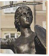 Mermaid Statue In Warsaw. Wood Print by Fernando Barozza