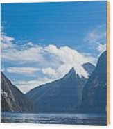 Milford Sound And Mitre Peak In Fjordland Np Nz Wood Print