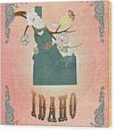 Modern Vintage Idaho State Map  Wood Print