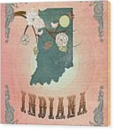 Modern Vintage Indiana State Map  Wood Print