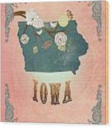 Modern Vintage Iowa State Map  Wood Print