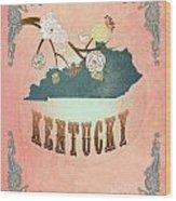 Modern Vintage Kentucky State Map  Wood Print