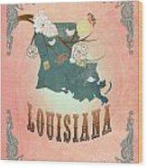 Modern Vintage Louisiana State Map  Wood Print