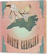 Modern Vintage North Carolina State Map  Wood Print