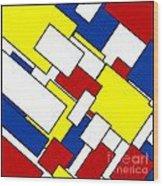 Mondrian Rectangles Wood Print
