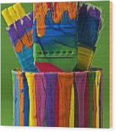 Multicolored Paint Can With Brushes Wood Print