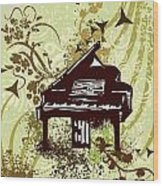 Musical Backgrounds With Instraments Wood Print