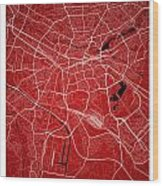 Nuremberg Street Map - Nuremberg Germany Road Map Art On Colored Wood Print