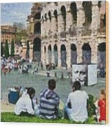 Outside Colosseum In Rome Wood Print
