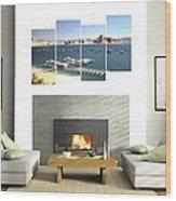 4-panel - Lake Powell Marina Wood Print