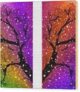 4-panel Snow On The Colorful Cherry Blossom Trees Wood Print