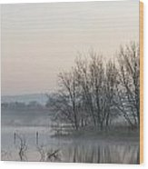 Panorama Landscape Of Lake In Mist With Sun Glow At Sunrise Wood Print by Matthew Gibson