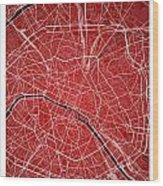 Paris Street Map - Paris France Road Map Art On Colored Backgrou Wood Print