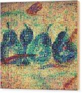 4 Pears Mosaic Wood Print