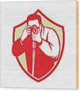 Photographer Shooting Camera Shield Retro Wood Print