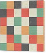 Pixel Art Square Wood Print