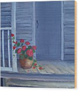 Porch Flowers Wood Print by Glenda Barrett