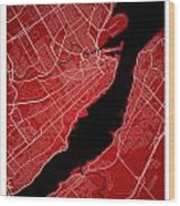 Quebec City Street Map - Quebec City Canada Road Map Art On Colo Wood Print