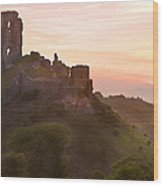 Romantic Fantasy Magical Castle Ruins Against Stunning Vibrant S Wood Print
