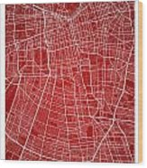 Santiago Street Map - Santiago Chile Road Map Art On Colored Bac Wood Print