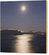 Santorini Moonlight Wood Print