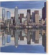 Seattle Skyline Waterfront Wood Print