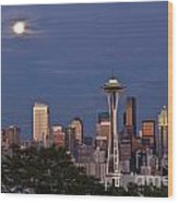 Seattle Skyline With Moonrise And Space Needle Wood Print